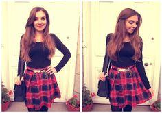 H&M Black Top, Asos Tartan Skirt, Asos Black Satchel, Vintage Leopard Belt