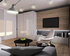 Projekt mieszkania 55 m2 Living Room Designs, Living Spaces, Tv Cabinets, Interior Design Inspiration, Decoration, Modern, Mac, Studio, Furniture