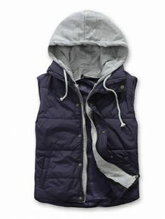 Dark Blue Simple Casual Hoodie Sleeveless Men Cotton Blends Vest M/L/XL/XXL 717-250-35db