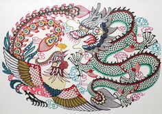 Chinese Paper Cut Art - Chinese Paper Cutting - Dragon and Phoenix by Gao Dian Liang