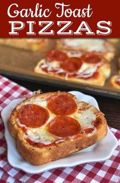 Quick & Easy Mini Garlic Toast Pizzas - The Lazy Dish