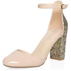 Dorothy Perkins Blush 'Dazed' Glitter Court Shoes (€44) ❤ liked on Polyvore featuring shoes, pumps, pink, round toe shoes, patent pumps, patent shoes, round cap and glitter pumps