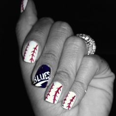 My nails thanks to an idea I found on here. Thanks Pinterest! #baseball #nails