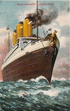 SS Imperator, Hamburg America Line, 1913 Charles Trenet, Kaiser Wilhelm, Ship Paintings, Travel Ads, Boat Painting, Nautical Art, Poster Ads, Ship Art, Vintage Travel Posters