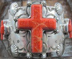 Vtg Spiny Oyster Cross Hand Stamped Navajo Sterling Cuff Bracelet David Troutman | eBay