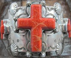 Vtg Spiny Oyster Cross Hand Stamped Navajo Sterling Cuff Bracelet David Troutman | Schaef Designs by Bobby Schaefer
