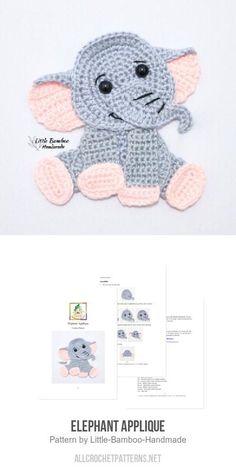 icu ~ Elephant Applique crochet pattern by Little Bamboo Handmade in 2020 Crochet Owl Hat, Crochet Fish, Crochet Patterns Amigurumi, Baby Blanket Crochet, Crochet Crafts, Crochet Toys, Crochet Baby, Crochet Projects, Crochet Penguin