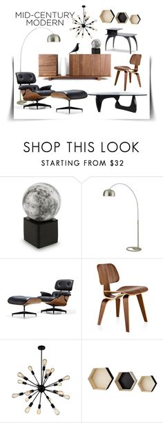 """Walnut Black"" by rowangingerraven ❤ liked on Polyvore featuring interior, interiors, interior design, home, home decor, interior decorating, NOVICA, Nova Lighting, Charles and Ray Eames and Herman Miller"