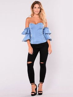 Cut Out Long Skinny Ripped Jeans For Women – Modalbox Womens Ripped Jeans, Trendy Jeans, Ripped Skinny Jeans, Cute Fall Outfits, Chic Outfits, Fashion Outfits, Fashion Wear, Fall Fashion, Womens Fashion