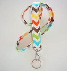 Lanyard  ID Badge Holder  Blue Brown Yellow lime Green by Laa766, $7.75     Great for teachers, coaches, nurses, and students. preppy / fabric /cute / patterns / key chain / keychain / girly / badge / key leash