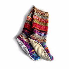IN RED, hand knit wool long tibetan socks
