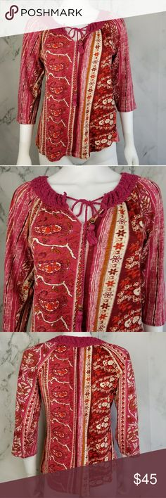 Lucky Brand printed v cut top Patterned top with knotted trim across the top and a tassle string to tie Lucky Brand Tops