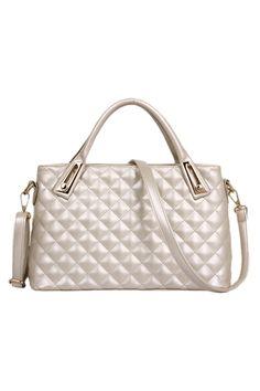 #ROMWE | ROMWE Rhombus Patterns Fashion Cream Bag, The Latest Street Fashion