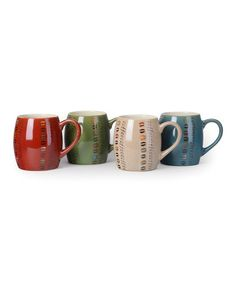 """I love Zulily! 'Coffee' Stripe Mugs - Set of Four. {nice quality cups. Vivid colors and the shape is  """"love coffee"""" cuddly.}"""
