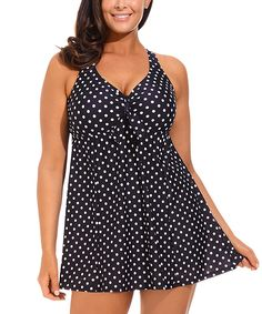 swimsuitsforall Black & White Polka Dot Tie-Front Swimdress - Women & Plus | zulily