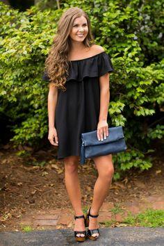 She's Unforgettable Black Off-The-Shoulder Dress at reddressboutique.com