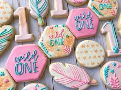Boho inspired wild one cookies First Birthday Cookies, Fun Cookies, Wild Ones, First Birthdays, Biscuits, Boho, Inspired, Business, Cake
