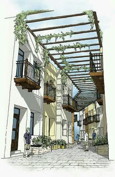 Perspective View of the Mercado Walk Project for Rammed Earth Development - architecture Landscape Sketch, Landscape Drawings, Landscape Design, Architecture Concept Drawings, Landscape Architecture, Architecture Design, Google Architecture, Japanese Architecture, Classical Architecture
