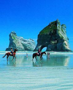Horseback Riding Along The Beach ♡ Romantic Tropical Honeymoon || Golden Bay, New Zealand