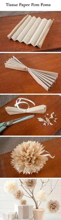 pompon de papel para decorar el árbol de navidad