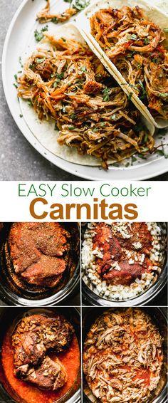 Slow Cooker Carnitas Tender and flavorful pork Carnitas are so versatile to serve with tacos, burritos, quesadillas, tamales, or burrito bowls. Slow Cooker Carnitas, Pork Carnitas Recipe, Slow Cooker Pork, Slow Cooker Recipes, Freezer Recipes, Freezer Cooking, Pork Recipes, Cooking Tips, Party