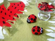 Red ladybug brooch / dekor Table decor Needle by CoffeeGrains