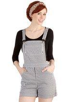 Sassy Stripes Overalls | Mod Retro Vintage Shorts | ModCloth.com. $49