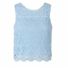 CROCHET LACE FRONT CROPPED TOP Ally Fashion ($18) via Polyvore