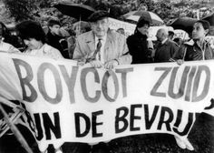 Anti-apartheid demonstration in The Netherlands encouraging a boycott of South African goods. Photo courtesy of Have You Heard From Johannesburg (www.clarityfilms.org)