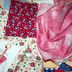 Variety of polyester fabrics for a quilt.