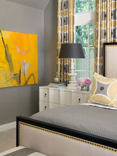 How to wake up a gray bedroom... #interiordesign #inspiration #bedroom #color #yellow