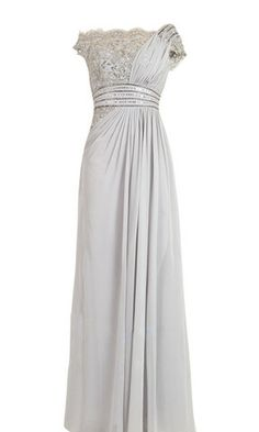 how to wear grey lace dresses | Grey Embellished Evening Dress in Chiffon and Lace (56695)