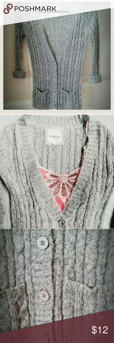 """Knit cardigan Sleeves are full length, just rolled up in the pictures.                                                       Length of sleeves from where shoulder ends, 26"""".                                                                            Length of cardigan from armpit, 20"""".                    Fits a tad smaller than a medium but still looks great! Forever 21 Sweaters Cardigans"""