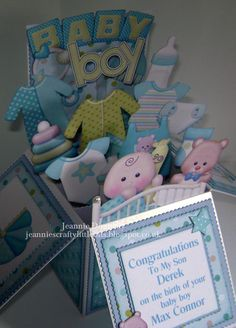 New Baby Boy - Card in a box - using images and papers from a digi scrapbook kit by Sweet Shoppe