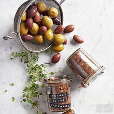 """Three times the olive, three times the goodness. This blender-spun tapenade can be stashed in the freezer up to three months and will have you saying """"olive you"""" in no time."""