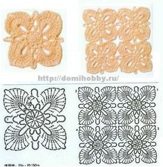 17 Square crochet motif diagrams & layouts, domihobby.ru