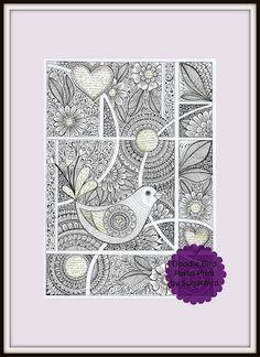 Doodle Bird Panel Print