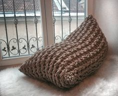 Beige sand Knitted bean bag chair    This listing is for one knitted beanbag 110x60x60 cm without filling. This beanbag is also made to order custom