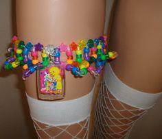 Lisa frank inspired kandi garter by KandiToYBoX Kandi Patterns, Beading Patterns, Bracelet Patterns, Stitch Patterns, Perler Beads, Pony Bead Projects, Beading Projects, Diy Kandi Bracelets, Pulseras Kandi