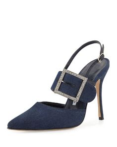 ea1ddab6 Beladona Denim Buckled Slingback Pump, Denim Blue Sandalias, Zapatillas,  Moda Española, Calzado