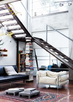 the design files // loft Living Room Designs, Living Spaces, Living Rooms, Living Area, Industrial Living, Industrial Style, Industrial Stairs, Design Industrial, Industrial Apartment