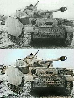 foto coloriada por Mi de un panzer IV en el invierno Ruso