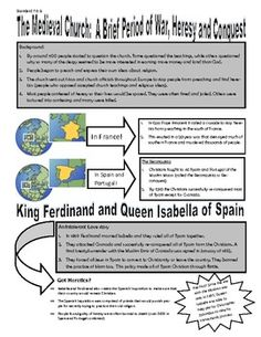 This product was revised to include a blank bumper sticker template for a teacher to assign and more information was added.This is a concise one page summary outline notes that includes the challenges and conquests of the medieval church. It also profiles The Spanish Inquisition, the leadership of King Ferdinand and Queen Isabella and the Reconquista.