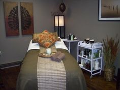 Facial Room. Love the bed.