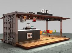 A kiosk is playing an important role in an exhibition stand. A good kiosk design can help in luring customer to come and stop at your booth for longer time. Kiosk Design, Cafe Design, Booth Design, House Design, Signage Design, Container Home Designs, Shipping Container Cafe, Cafe Interior, Interior Design