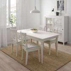 INGATORP / INGOLF Table and 4 chairs - white - IKEA. Slightly more elegant and larger but would still fit nicely in this plan. Kitchen Chairs, Dining Room Chairs, Dining Room Furniture, Table And Chairs, Ikea Dining Sets, Ikea Chairs, Ikea Furniture, Modern Furniture, White Dining Table