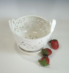 Ceramic Fruit Bowl Berry Bowl Colander with coaster dish handcarved. $45.00, via Etsy.