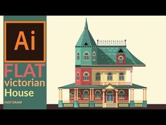 Drawing a Victorian era house in illustrator - Fast drawing - YouTube