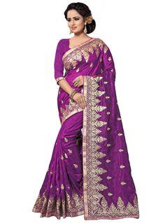 Purple Art Silk Festival Wear Saree 94298