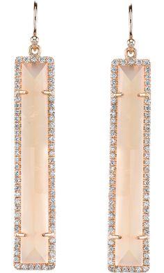 Moonstone & Diamond Earrings